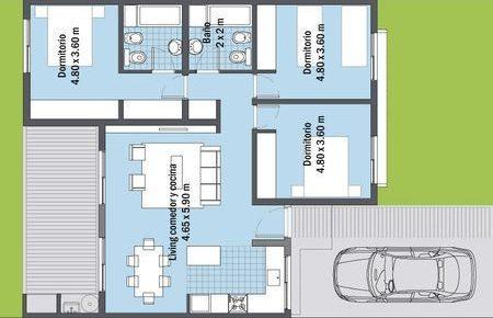 plantas de casas modernas - planta de casa com 3 quartos e lavanderia grande