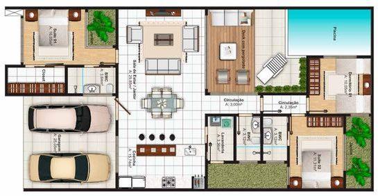 plantas de casas modernas - planta de casa com 3 quartos e piscina