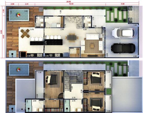 plantas de casas modernas - planta de casa com 3 quartos e sala de jantar com conceito aberto