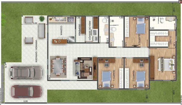 plantas de casas modernas - planta de casa com 3 quartos e varanda associada com garagem