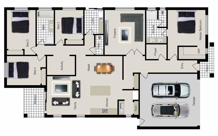 plantas de casas modernas - planta de casa com 4 quartos e garagem dupla