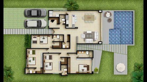 plantas de casas modernas - planta de casa com 4 quartos e piscina de dois andares