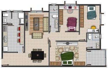 plantas de casas modernas - planta de casa com três quartos com sala de jantar
