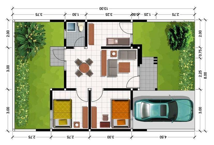 plantas de casas modernas - planta de casa pequena com 2 quartos e jardins