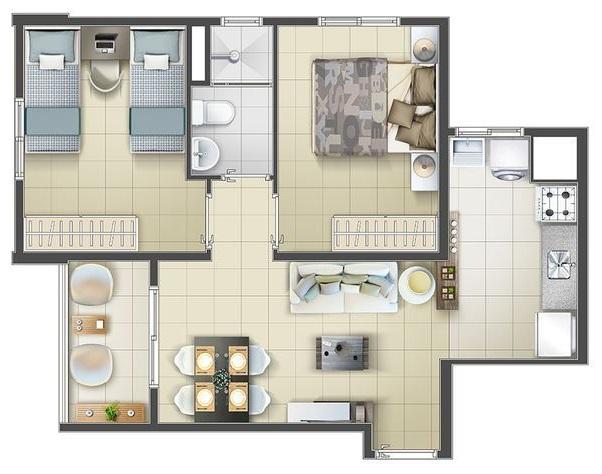 plantas de casas modernas - planta de casa pequena com 2 quartos