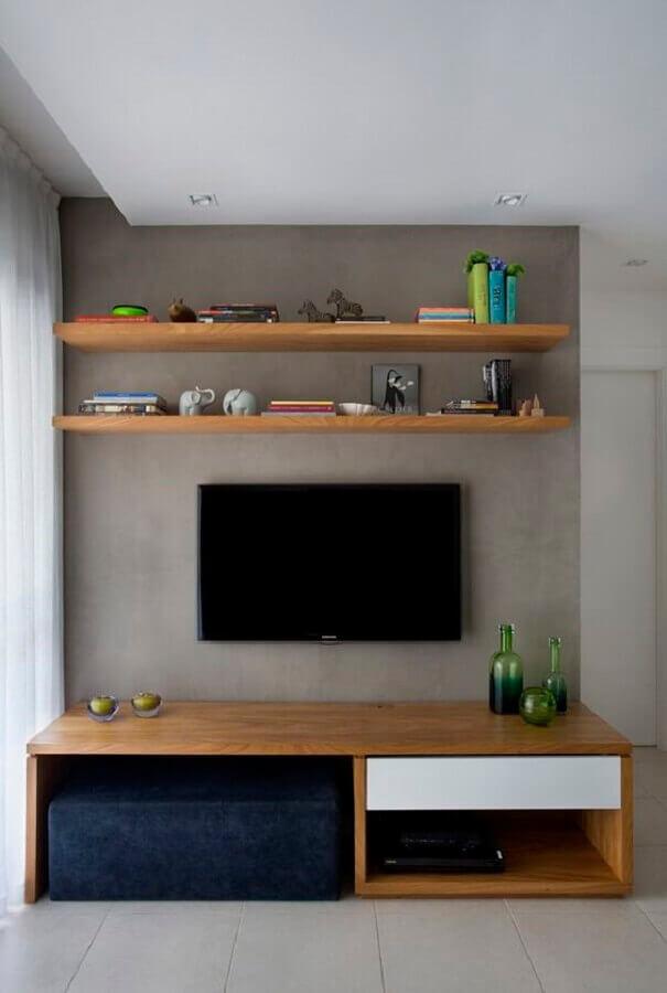 prateleira de madeira para sala minimalista Foto Projetos Habitissimo