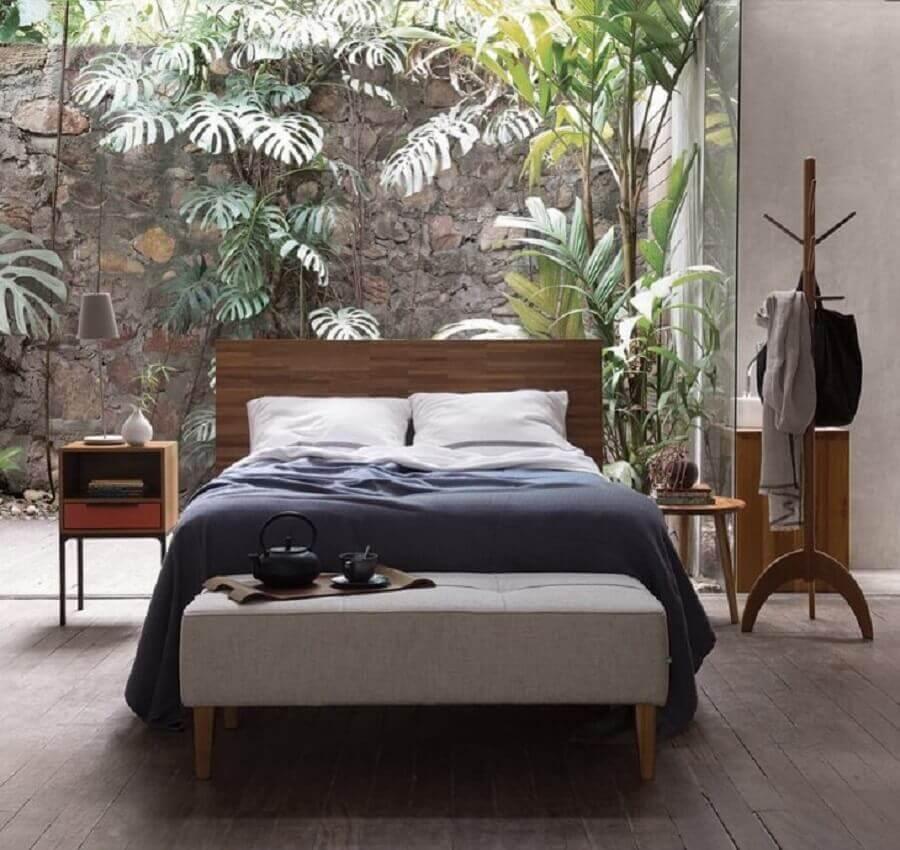 quarto de casal decorado com cabideiro de chão de madeira Foto Fernando Jaeger Design