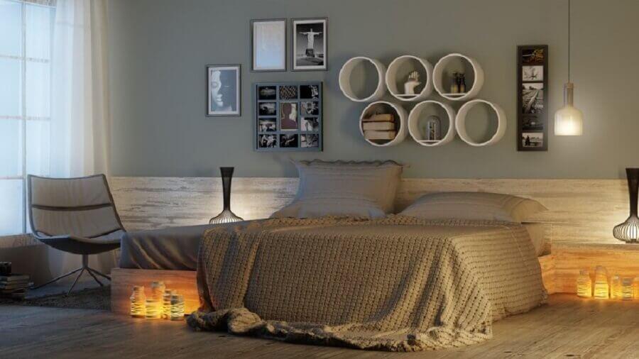 quarto de casal decorado com nichos redondos Foto ConstruindoDECOR