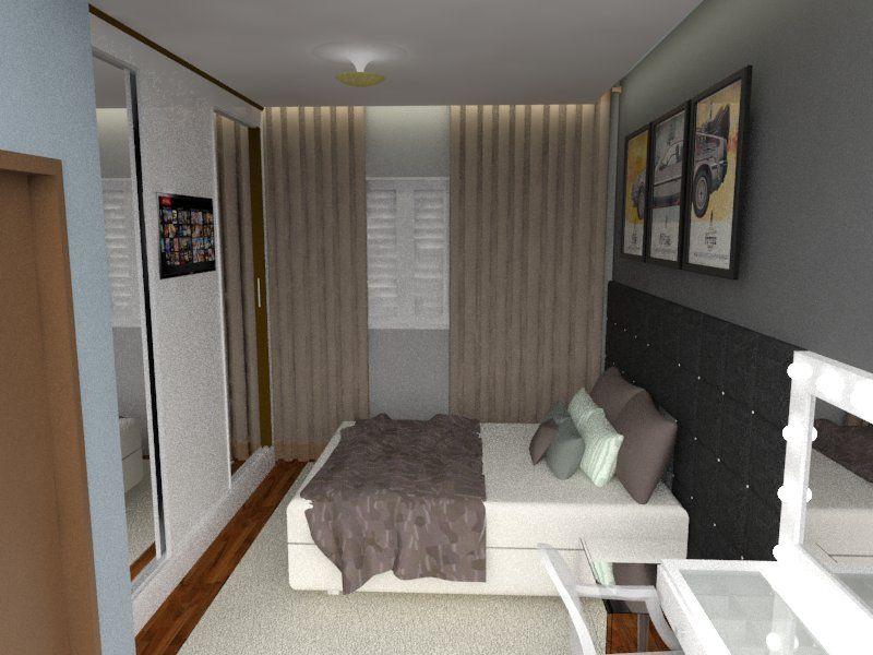quarto de casal moderno - cama com cabeceira estofada preta