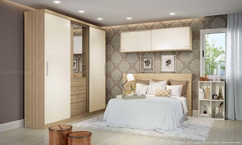 quarto de casal moderno - quarto com guarda roupa creme e nichos