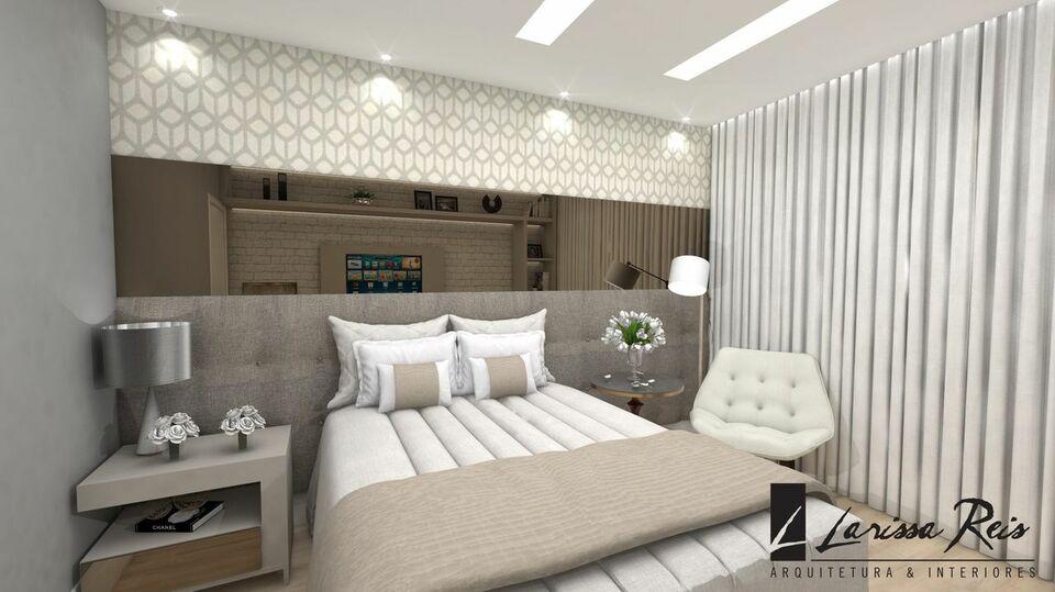 quarto de casal moderno - quarto com parede de espelho e cama centralizada