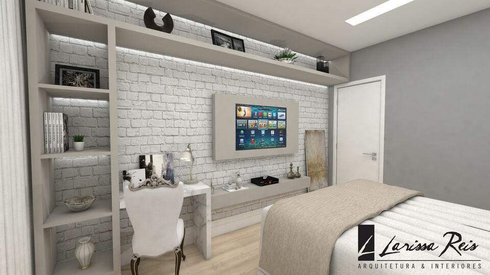 quarto de casal moderno - quarto com tv embutida e prateleiras