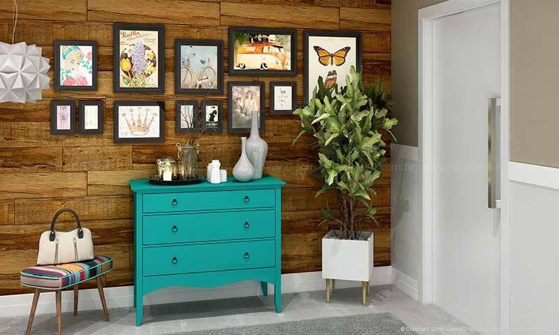 tinta para madeira - quarto com cômoda turquesa