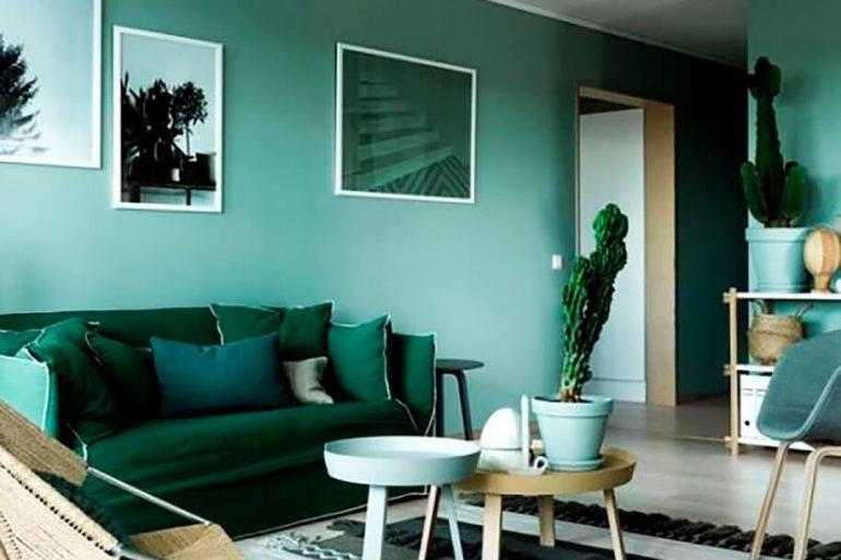 tons de verde para decoração de sala de estar