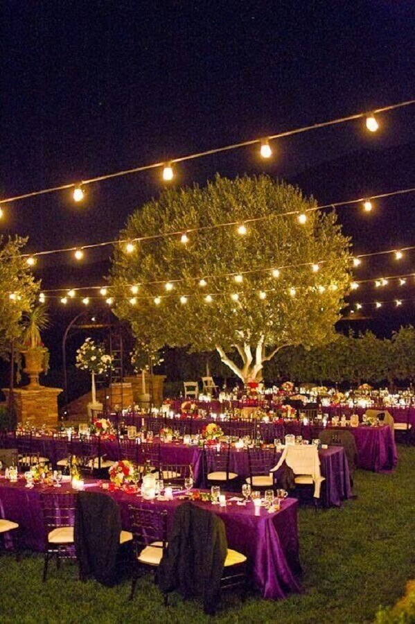 varal de luz para decoração de bodas de casamento ao ar livre Foto My Wedding Diario