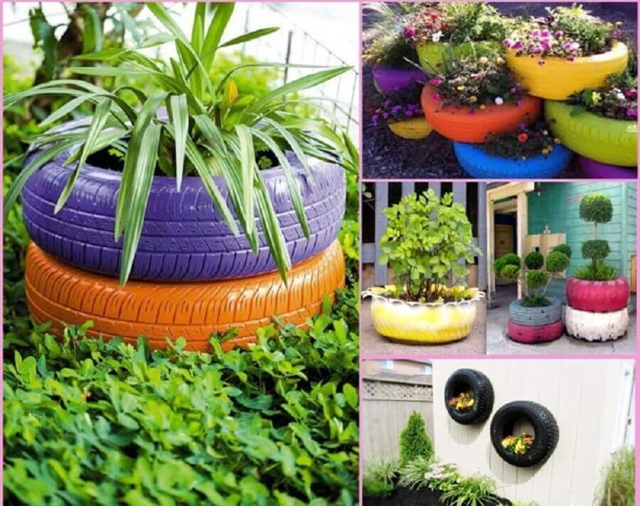 vasos de plantas feitos com pneus