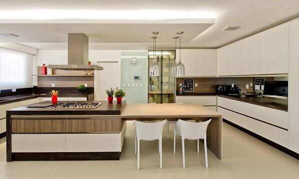 A sanca invertida como moldura de gesso também pode usar faixa de LED e auxiliar na iluminação da cozinha