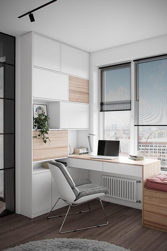 Armário de canto para escritório branco e madeira