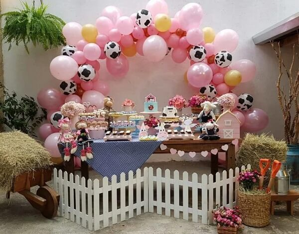 Farm girl party decoration full of details