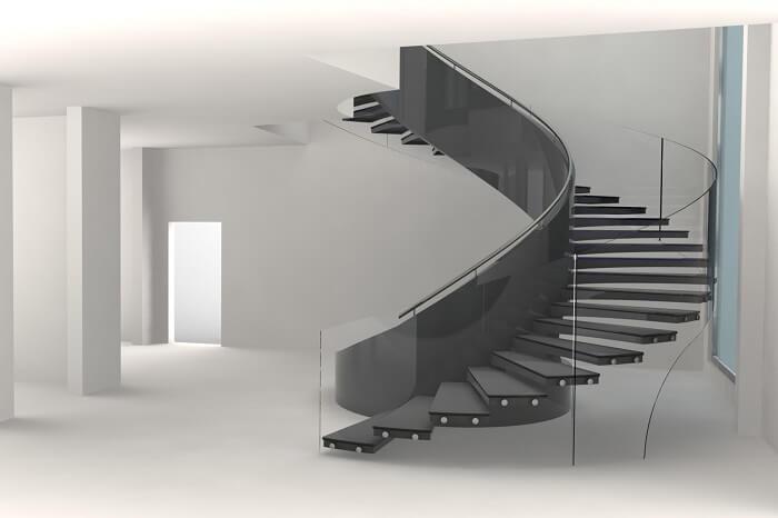 Design sofisticado dessa escada flutuante de concreto com lateral de vidro
