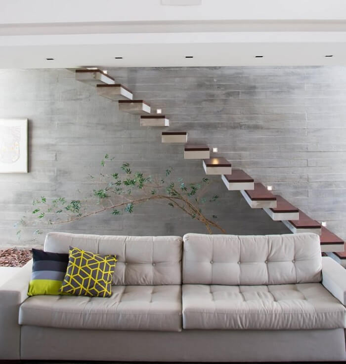 Escada flutuante para sala de estar
