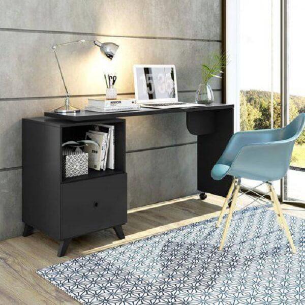Escrivaninha preta com e gaveta