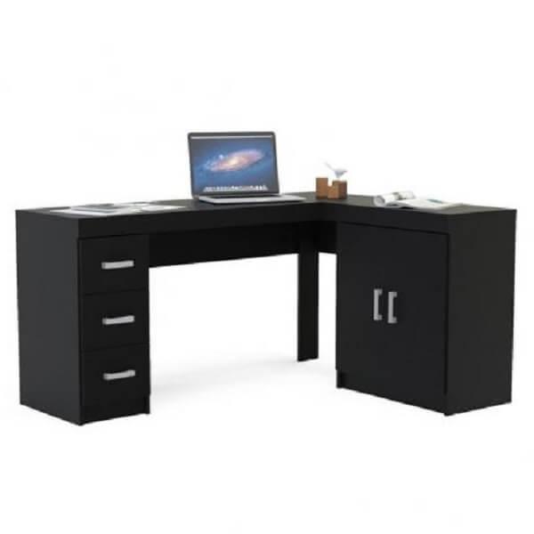 Escrivaninha preta em formato l com várias gavetas