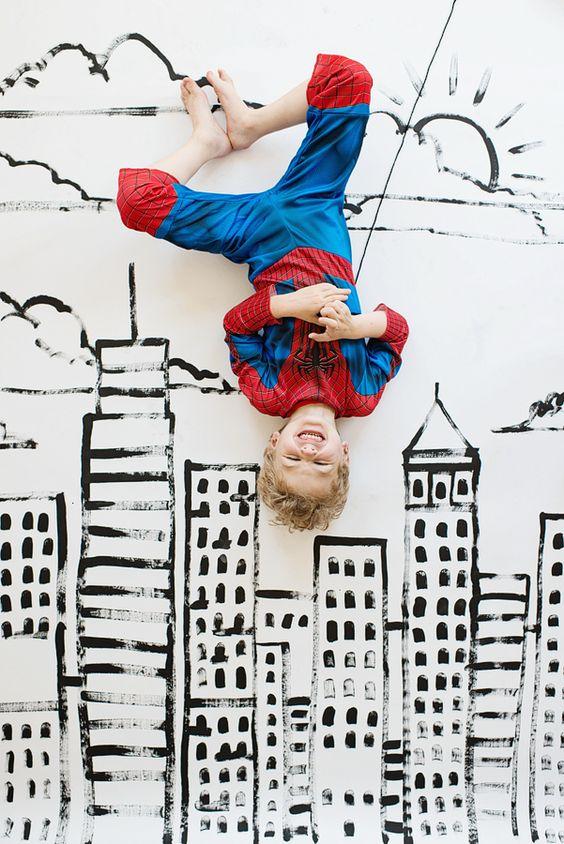 Festa do homem aranha com mural para fotos