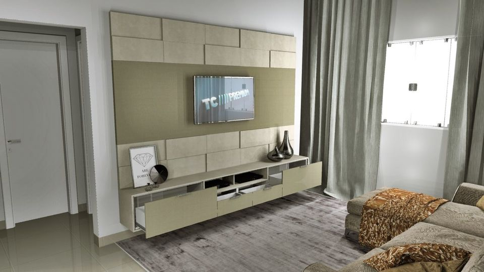 Home para sala - Estante com painel para TV bege