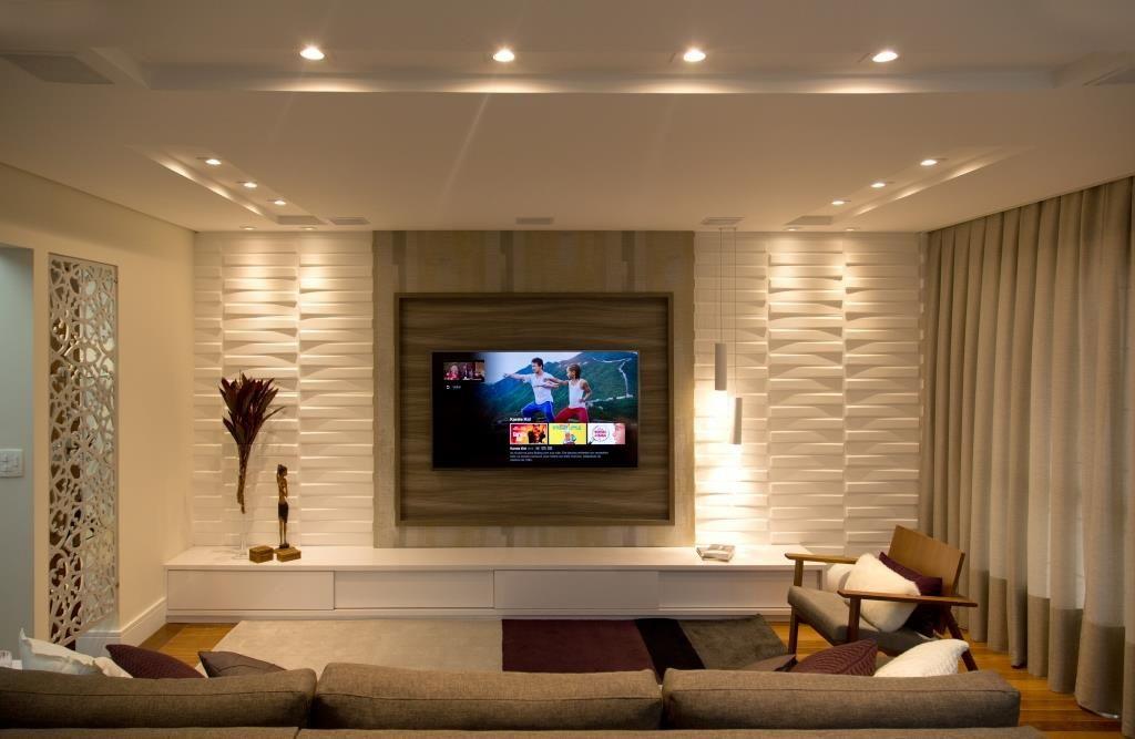 Home para sala - home theater com painel 3d para tv