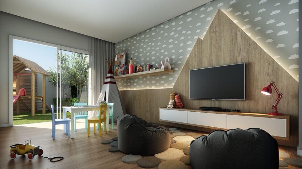 Home para sala - painel de madeira para tv com iluminação de led