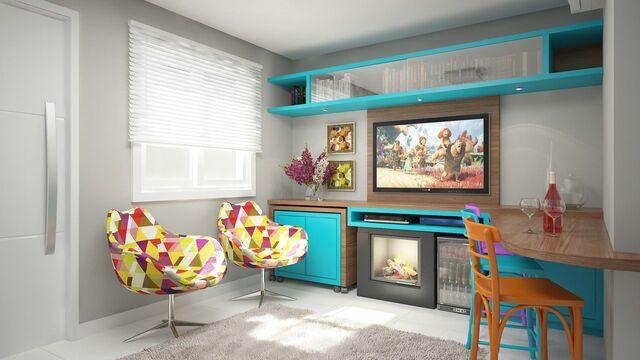 Home para sala - painel para tv com bancada e detalhes azuis