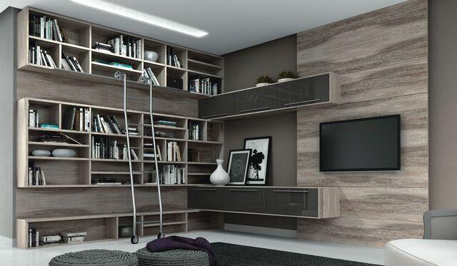 Home para sala - portas de vidro preto e painel para tv de madeira