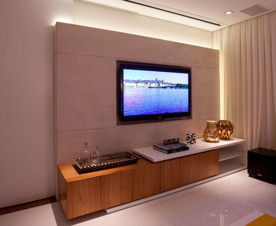 Home para sala - sala de estar com painel para tv simples