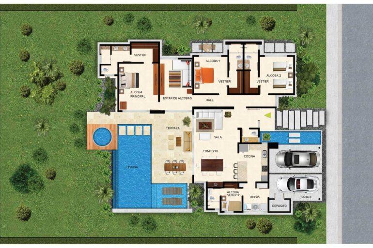 Modelo de plantas de casas modernas