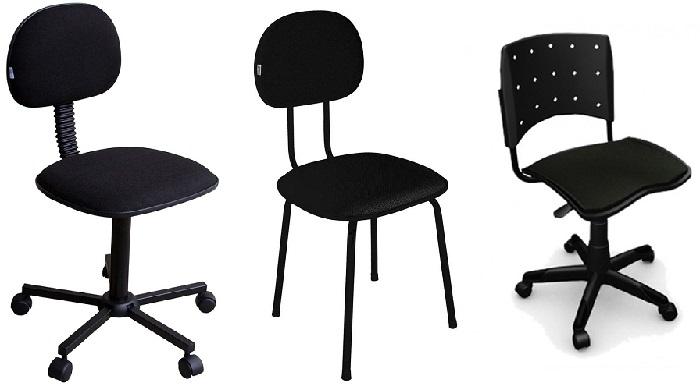Modelos de cadeira secretária fixa e com rodízios