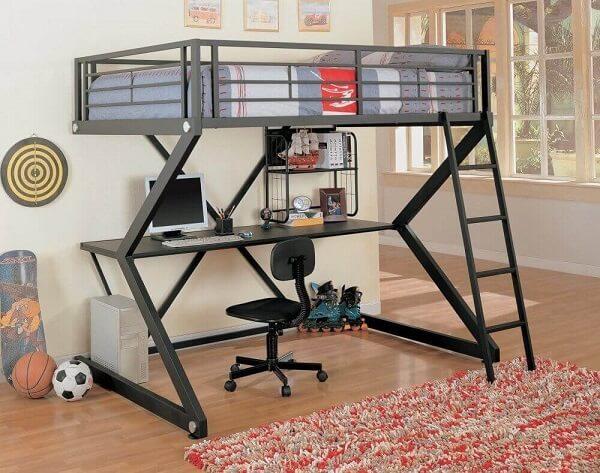 Os modelos de beliche com escrivaninha minimalista são mais fáceis de combinar com o resto da decoração do quarto