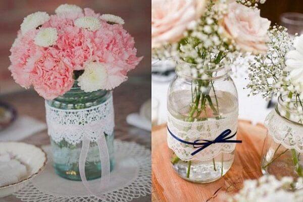 Potes de vidros decorados com renda