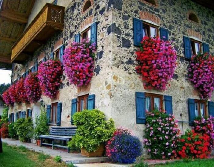 Petúnias encantam a decoração da fachada desta casa