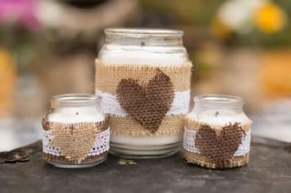 Potes de vidro decorado com juta