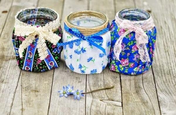 Potes de vidro decorado com estampas diversas