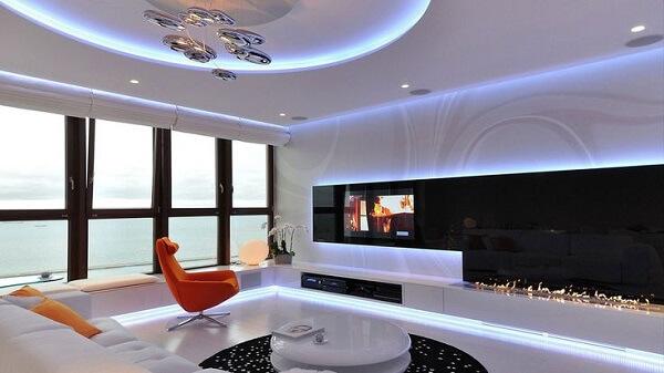 Teto de gesso na sala de estar moderna