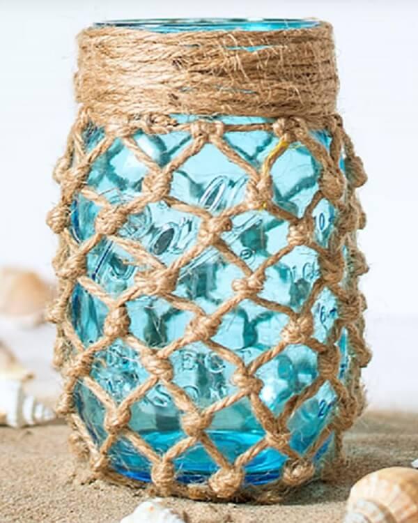 Vidro decorado com fibra de sisal