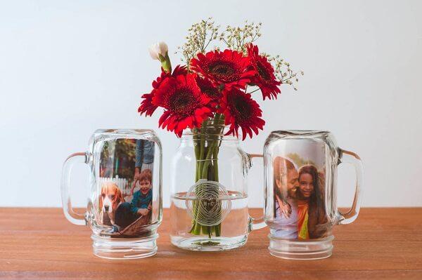 Vidro decorado com fotografia