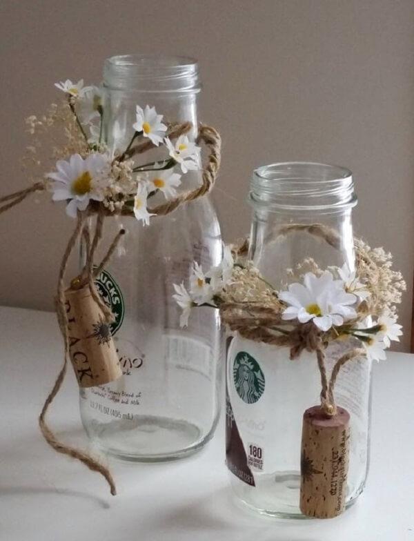 Vidros Decorados com rolha de vinho e linha de sisal