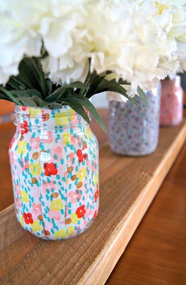 Vidros decorados com tecidos estampados