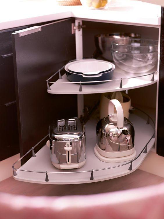 armário de canto - armário de canto de cozinha com prateleira giratória com haste