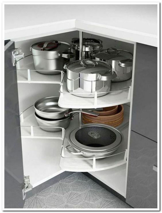 armário de canto - armário de cozinha com gavetas e prateleiras duplas
