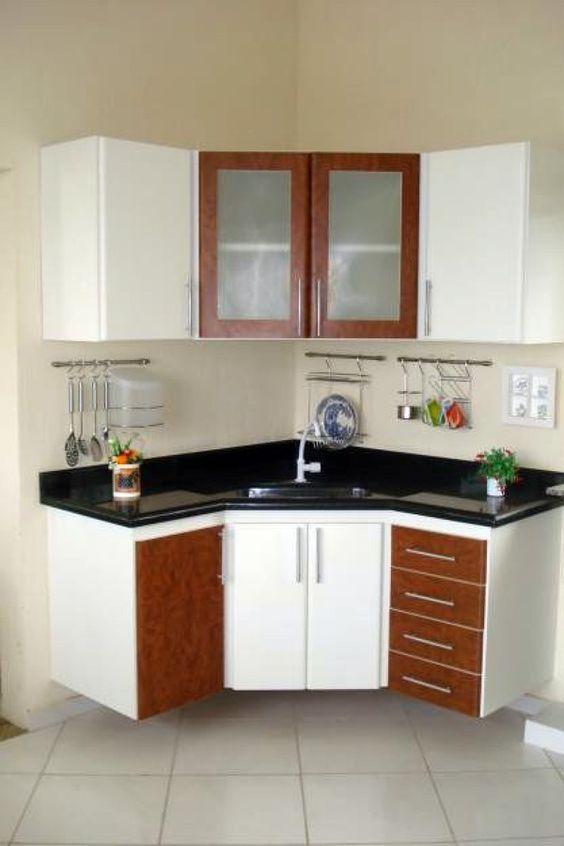 armário de canto - armários de canto de cozinha com madeira branca e marrom