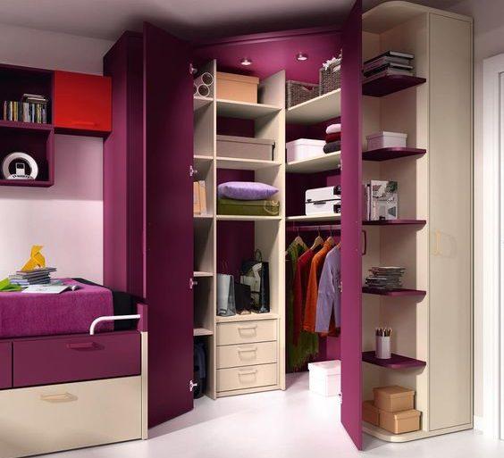 armário de canto - quarto com armário roxo de canto - BCN Mobles